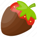 chocolate coating, chocolate covered strawberry, fruit chocolate fusion, strawberry with chocolate dipping, summer treat icon