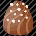chocolate bite, chocolate candy, chocolate egg, oval shape chocolate icon