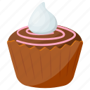 chocolate cupcake, creamy muffin, dark chocolate, raspberry chocolate, snack icon