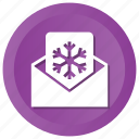 eml, invitation, letter, message, snowflake, xmas icon