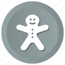 christmas, food, gingerbread, holidays, man icon