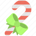 candy cane, candy stick, candy with bow, confetti, traditional food icon