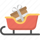 christmas celebration, gift sleigh, presents sled, santa sledge, snow sleigh icon