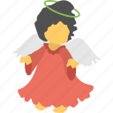 angel, baby angel, cartoon angel, christmas character, flying fairy icon