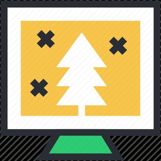 christmas shopping, christmas tree, monitor, tree, tree shopping icon