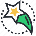abstract star, falling star, meteoroid, shooting star, star icon