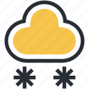 cloud, ice flakes, snow falling, snowflakes, winter season icon