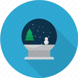 christmas, glass, globe, shiny, snow, winter icon