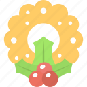 christmas greeting, floral badge, merry christmas, mistletoe wreath, party decor icon