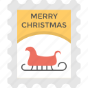 christmas celebration, festive greeting, merry christmas, post card, santa sleigh card