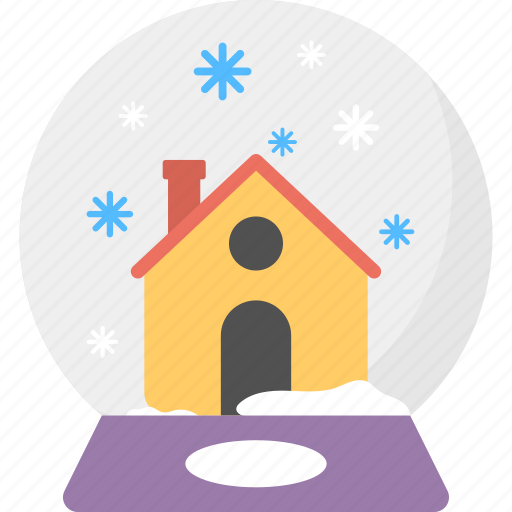 christmas showpiece, snow globe, snowdome, snowfall on home, winter decoration icon