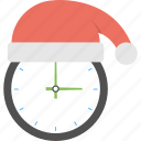christmas countdown, christmas holiday, christmas moments, christmas time, santa hat clock icon