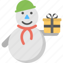 christmas celebration, merry christmas, new year greeting, snowman gift, snowman with gift