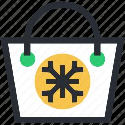 christmas shopping, shopper bag, shopping bag, snowflake, tote bag icon