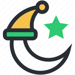moon, night time, star, winter hat, winter night icon
