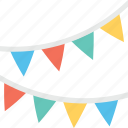 buntings, decoration, party, party flags, pennants icon
