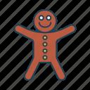 bakery, dessert, food, gingerbread man, sweet icon