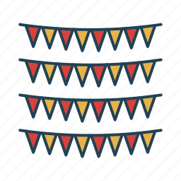 decoration, flags, ornament, party icon
