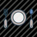 fork, kitchen, kitchen utensils, plate, spoon icon