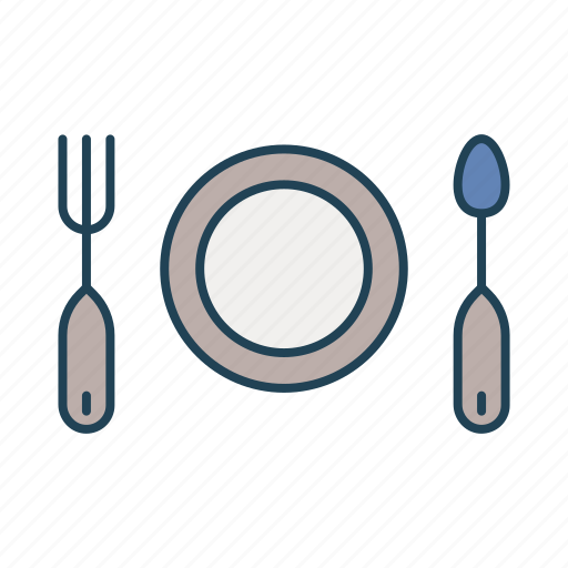 fork, kitchen, kitchen utensils, plate, spoon icon