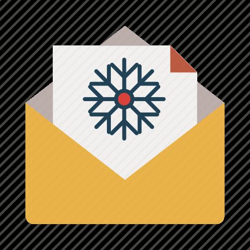christmas, communication, envelope, invitation, letter, mail, send icon