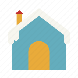 christmas, cloudy, cold, ice house, snow, weather, winter icon