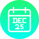 calendar, christmas, date, december, festival, new year icon