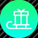 christmas, gift, new year, present, santa, sledge icon