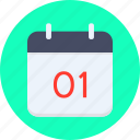 calendar, date, january, new year icon