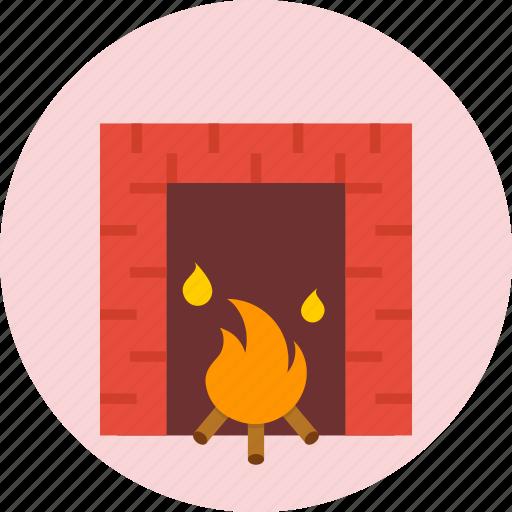 christmas, cozy, fire, fireplace, warm, winter icon