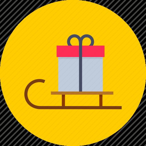 christmas, gift, present, santa, sledge, xmas icon