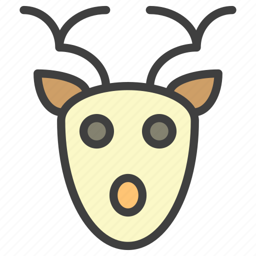 deer, face, santa icon