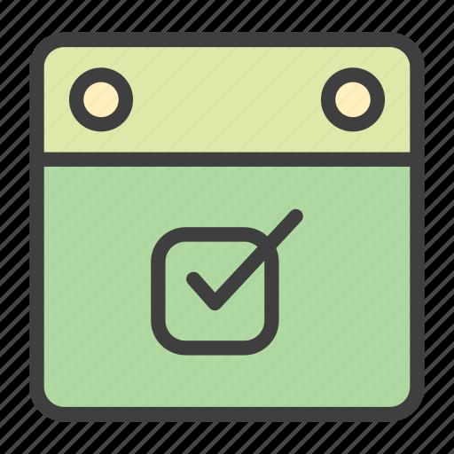 calendar, checkbox, done, event icon