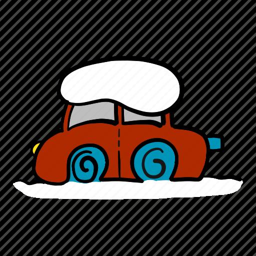 car, cold, snow, snowfall, stuck, winter icon
