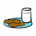 christmas, cookies, dessert, food, milk, snack icon