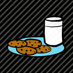 christmas, cookies, food, milk, santa, snack, sweet icon