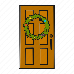 christmas, door, holiday, home, house, welcome, wreath icon