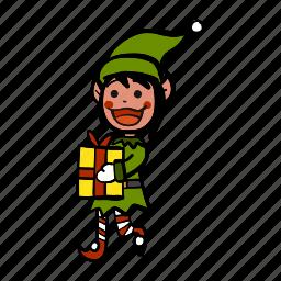 celebration, christmas, elf, gift, happy, present, working icon