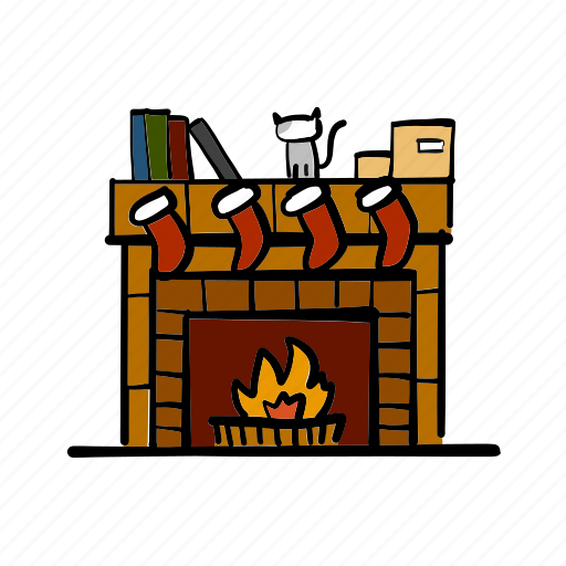 christmas, fire, fireplace, flame, living room, santa claus, warm icon