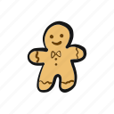 christmas, cookie, gingerbread, man, person, xmas icon