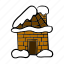 christmas, home, house, hut, snow, snowfall, winter icon