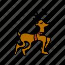 animal, christmas, deer, reindeer, rudolph, walk icon
