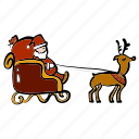 christmas, delivery, reindeer, santa claus, shipping, sleigh, xmas icon