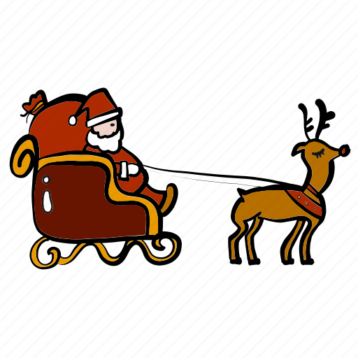 christmas, delivery, reindeer, santa claus, shipping, sleigh icon