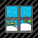 christmas, snow, snowfall, weather, window, winter icon