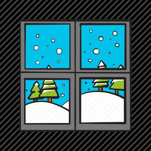 christmas, christmas tree, snow, snowfall, view, window, winter icon