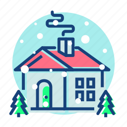 christmas, home, house, wintter icon