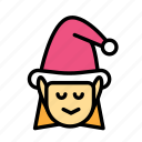christmas, elf, female, party, winter icon