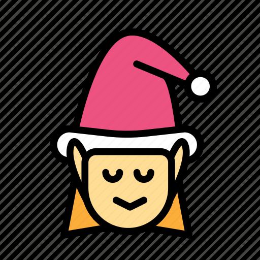 christmas, elf, female, party, winter icon