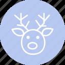 celebration, christmas, deer, festival, head icon